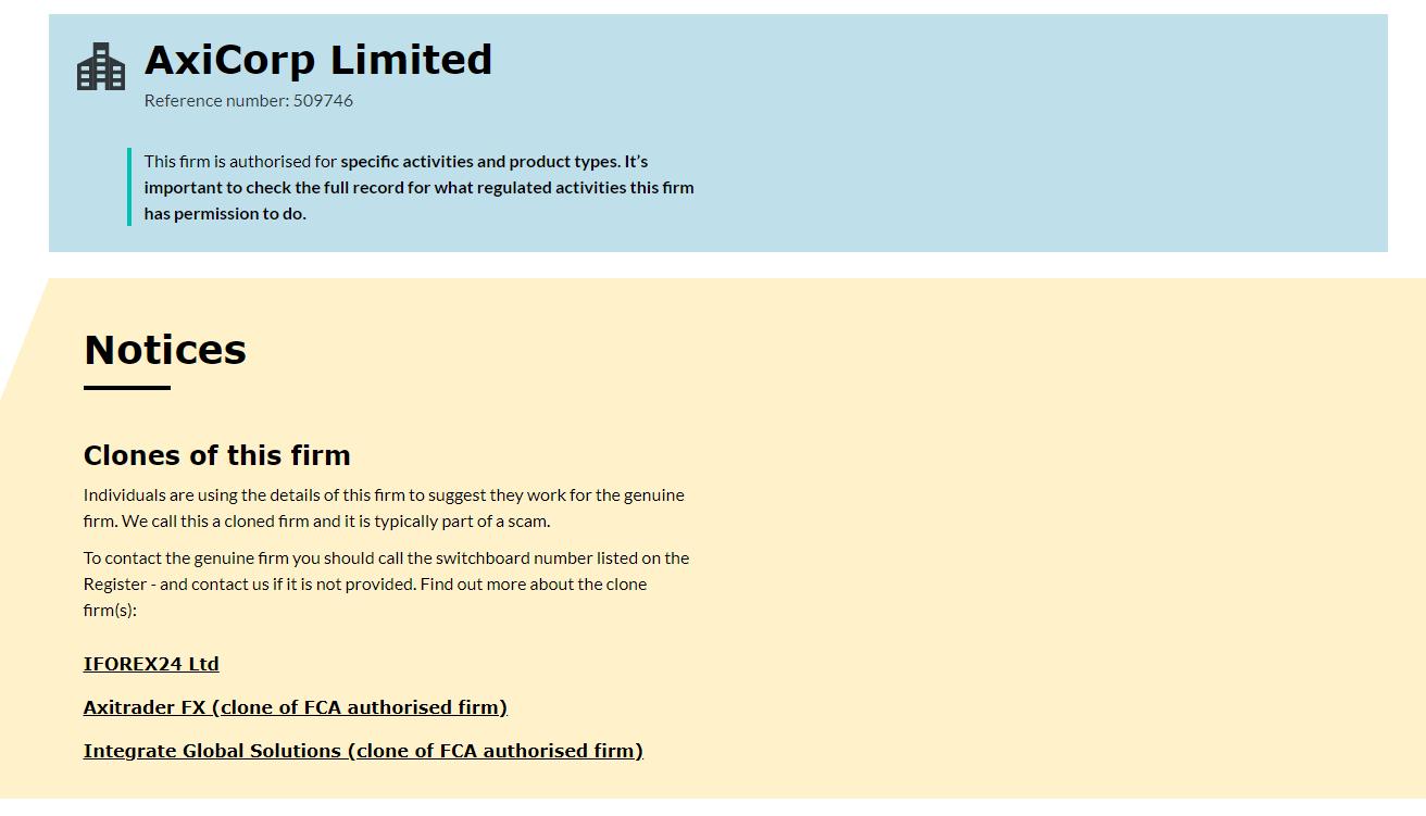 AxiTrader FCA Entry