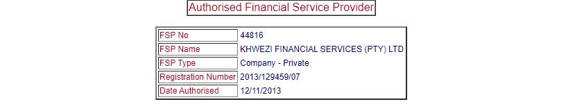 KhweziTrade FSP Entry